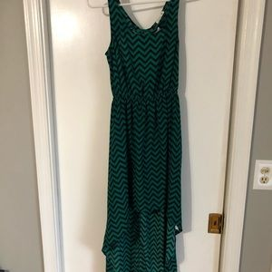 Soprano, High-low, green and blue striped dress